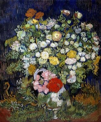 Bouquet of Flowers in a Vase Painting by Vincent Van Gogh Art Reproduction