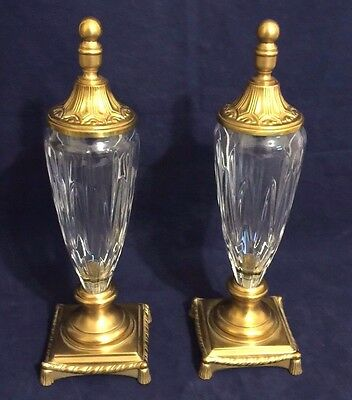 Vintage Beautiful Pair French Empire Style Brass Mounted Crystal Urns with Lids