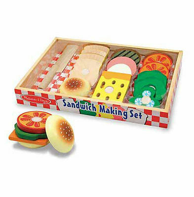New Melissa & Doug Wooden Sandwich Making Set Pretend Play Toy Food Role Play