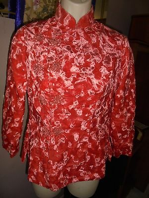 Vintage hand made,woman's STUNNING coral velvet Oriental Style light jacket, S