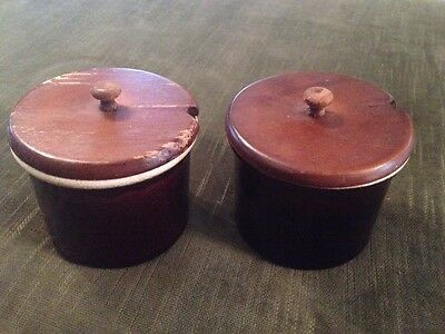 Brown Crock Set 2 Wood Handled Lids Condiment USA