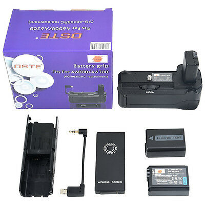 DSTE Remote VG-6300 Battery Grip with 2PCS NP-FW50 for SONY A6300 A6000 Camera