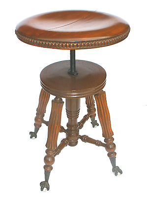 Antique Victorian Claw Foot Piano Stool