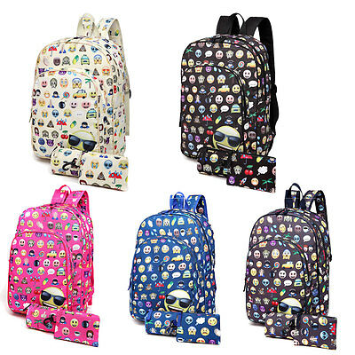 3Pcs Emoticon Backpack Pencil Set Emoji Smile Face School Travel Rucksack Bag