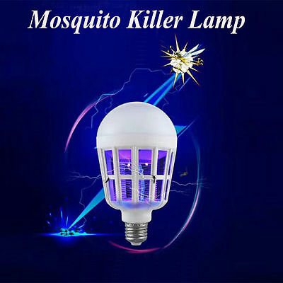 LED Bulb Anti-Mosquito Solar Powered LED Zapper Insect Flying Moth Killer lamp R