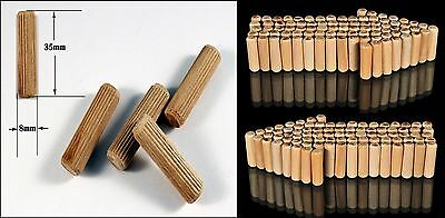 1000 12mm x 40mm FLUTED HARDWOOD WOODEN DOWEL PIN FOR WOODWORKING ETC FWS