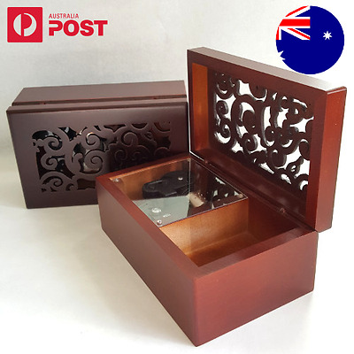 Engraving Rectangle Wooden Music Jewelry Box Wind Up Harry Potter Hedwigs Theme