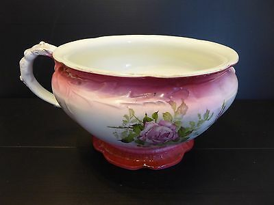 Vintage Art Deco Pink & Floral Chamber Pot by Johnson Bros. England c1930s