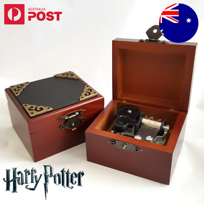 Leather Square Black Wind Up Wood Wooden Music Box Harry Potter Hedwigs theme