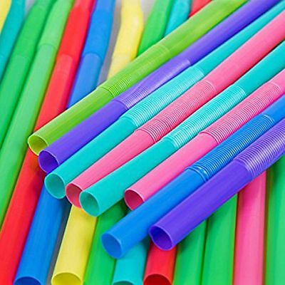 30 Extra Wide Jumbo Straws Milkshakes Smoothies Flexible Ends Kids Party BBQ UK