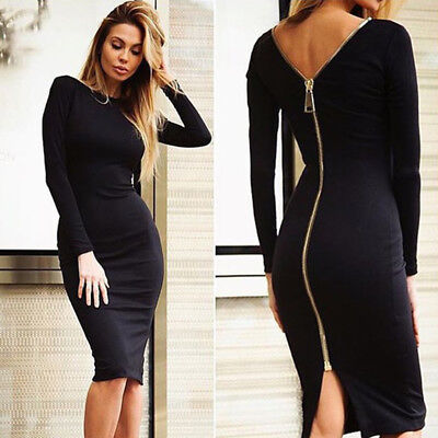Women's Formal Long Sleeve Short Mini Dress Cocktail Party Evening Bodycon Dress