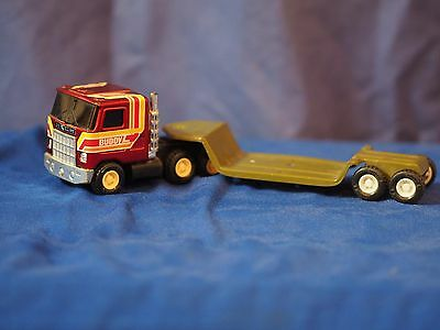 Vintage Tin Toy Buddy  Semi Truck And Transporter Trailer-excellent cond