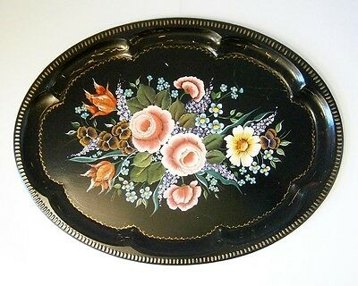 LARGE VINTAGE BLACK OVAL TIN TRAY with HAND PAINTED FLOWERS & GOLD DECORATION