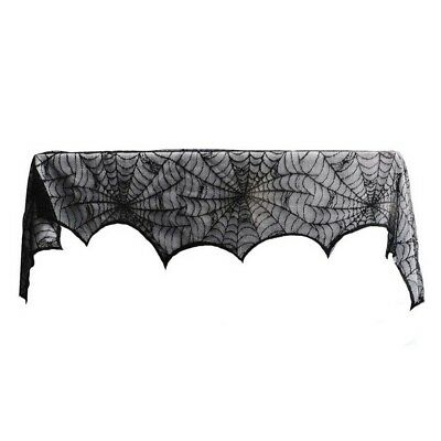 1 Piece Lace Spiderweb Fireplace Cloth for Halloween Decoration Black