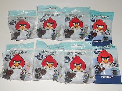 Angry Birds Power Caps lot of 8x Sealed Packs Packets - 132 Caps 14 Slammers