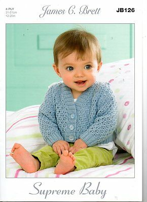 James Brett Baby 4PLY KNITTING PATTERN JB126 sizes 12-20Iin - not finished items