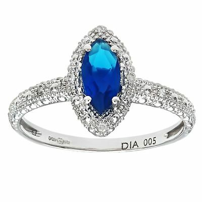 Revoni Blue Sapphire & Diamond Cluster Ring Solid 9ct White Gold