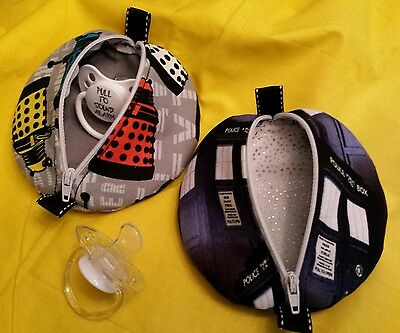 DOCTOR WHO Baby PACIFIER POUCH POD Zippered Case Your CHOICE Tardis or Daleks!