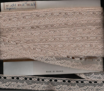 BEAUTIFUL VINTAGE ECRU 1950's FRENCH RAYONNE LACE 4 m X 3 cm