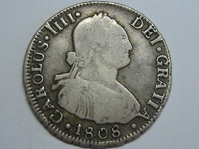 1808 Santiago 2 Real Charles Iv Chile Spanish Colonial Spain Silver