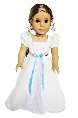 "Doll Clothes 18"" Dress White Victorian Headband Fits American Girl Dolls"