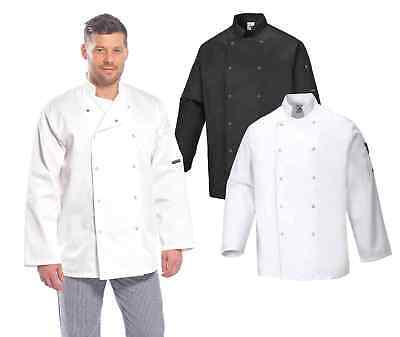 Portwest C833 Suffolk Men Chef Jacket Long Sleeve Catering Restaurant Workwear