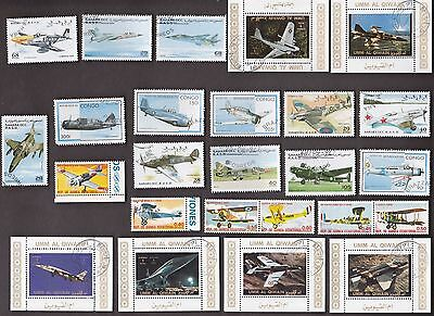 25 All Different WAR PLANES on Stamps