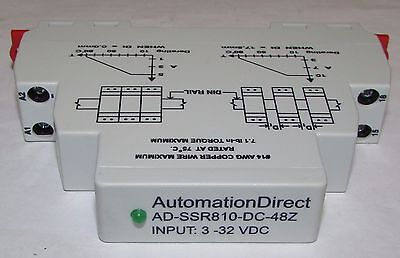 AUTOMATION DIRECT AD SSR810 DC 48Z Solid State Relay DIN Rail Mount 10 Amp SPDT