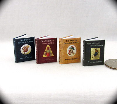 1:12 SCALE MINIATURE BEATRIX POTTER Books (4) Illustrated Book Set Petter Rabbit
