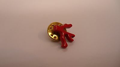 ISAIA NAPOLI Signature Red Enamel Coral Lapel Pin for Suit and Blazer