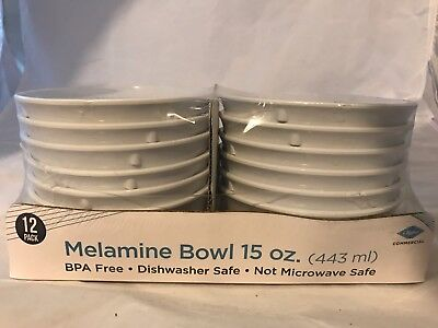 Clipper Commercial Melamine Bowl, 15 Oz, White, New - 12 Pack