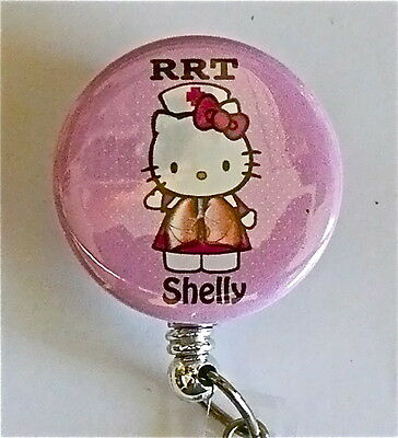 Rrt Id Badge Reel Retractable Rrt Hello Kitty Nurse Imprinted Name Hospital