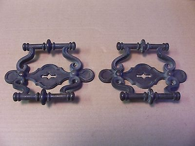 (2) Vintage Brass Finish Drawer Pulls / Handles -- Original Screws Included