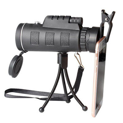 New 40x60 Outdoor Handheld HD Monocular Camping Telescope W/ Compass+Tripod+Clip