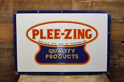 Vintage PLEE-ZING Food Products PORCELAIN Grocery Store Sign AMAZING CONDITION!
