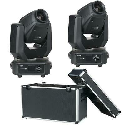 2x Showtec Phantom 65 Spot Moving Head DMX Light + Case Set