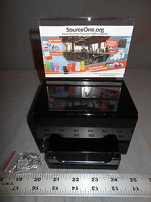 "SourceOne Donation Box With Sign Holder & Lock 5"" Wide Black"