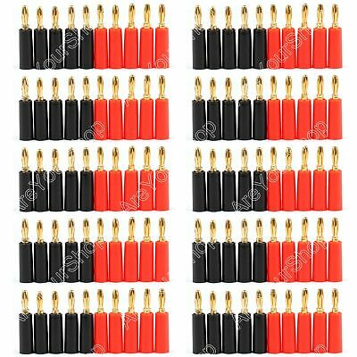 100Pcs Speaker Banana Plug Gold Plate Connector 45mm Black And Red Connector USA