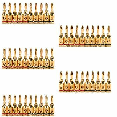 50Pcs Musical Audio Speaker Cable Wire 4mm Gold Plated Banana Plug Connector USA