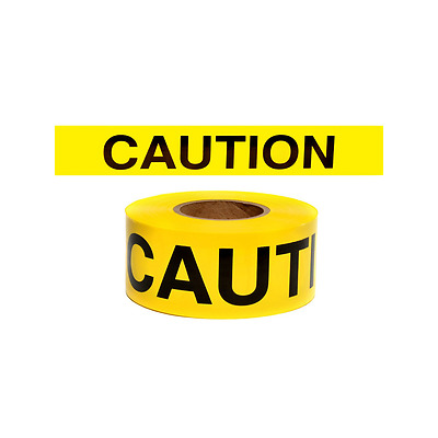 Yellow Barricade CAUTION Tape, 300 Foot Roll, 2.5 Mil