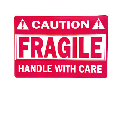 """PREMIUM WATERPROOF FRAGILE STICKER 2"""" x 3"""" HANDLE WITH CARE  (500 Per Roll)"""