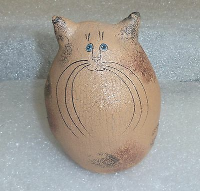 Natalie Silitch Vintage Folk Art Cat Hand Painted Crackle Canvas 5.5""