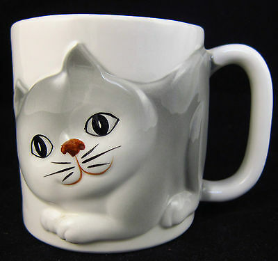 Otagiri Cat Coffee Mug Gray & White Made in Japan OMC 1980