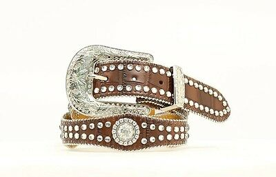 Nocona Girls' Rhinestone Brown Croc Print Western Belt N4426002