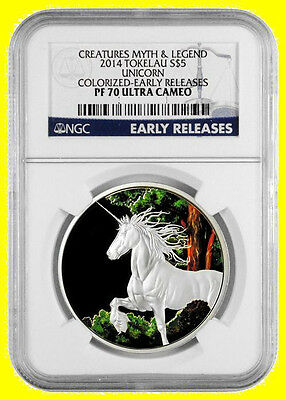 2014  unicorn 1 oz Silver unicorn colorized NGC  PF 70 ultra cameo EARLY RELEASE