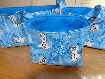 Set of 3 Handmade Disney's Frozen Olaf Cotton Fabric Lined Baskets w/ Handles