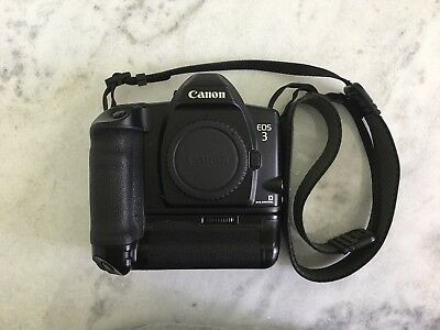 Canon EOS-3 35mm SLR Film Camera Body Only with PB-E2 grip