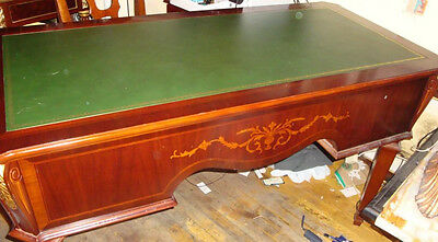 Estate Italian Mahogony Leather Top Desk W/ Gold Border