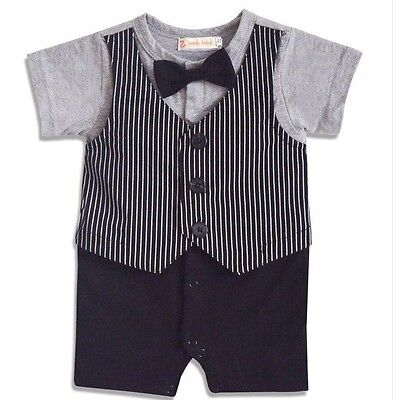 Baby Boy Formal Tuxedo One-Piece Romper Vest Suit Short Sleeve SIZE 000 or 0
