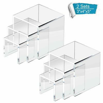 Clear Acrylic Display Risers Jewelry Stands Cases Book stands Showcase 2pk LOT